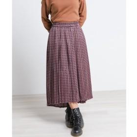 【ダブルネーム/DOUBLE NAME】 レトロ柄イレヘムプリーツスカート