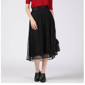 【J Lounge:スカート】プリーツレーススカート