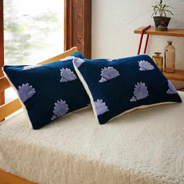 布団カバー シーツ 枕カバー ピローケース 吸湿発熱蓄熱ボアの枕カバー2枚セット 「はりねずみ(ネイビー)×アイボリー」