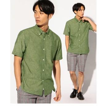 【メンズビギ:トップス】フレンチリネンボタンダウンシャツ