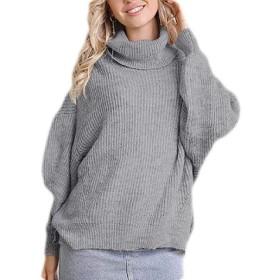 maweisong Women Cowl Neck Bat Sleeve Long Sleeve Sweatshirts Knitwear Dolman Top Grey S