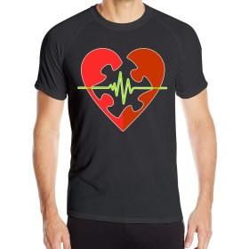 男性の自閉症啓発Tシャツ半袖クイックドライアスレチックティー