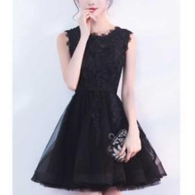 パーティードレス 袖あり 結婚式 韓国 ワンピース パーティドレス  レース×チュールスカート Aライン ワンピース パーティドレスドレス