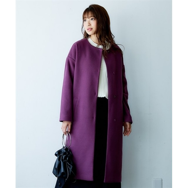 フェイクウールノーカラーロングコート (コート)(レディース)Coat, 大衣