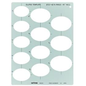 ドラパス テンプレート E227 楕円定規 45゜ NO.2