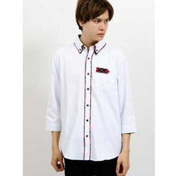 【semantic design:トップス】ドビーストライプ2枚衿ボタンダウン7分袖シャツ