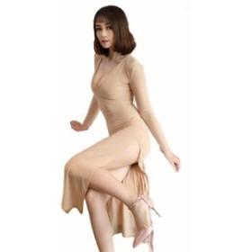 セクシー サイド スリット ロングドレス ★ 深いスリットで 美脚が際立つ ライン ドレス タイト レディース ワンピース ベージュ A16-4