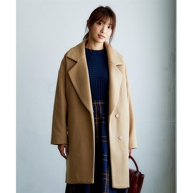 フェイクウールオーバーサイズチェスターコート (コート)(レディース)Coat, 大衣