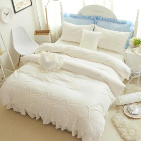 冬 保温 ビロード 寝具 無地 4点セット 布団カバー ベッドカバー 枕カバー おしゃれ 姫系 EBODONG