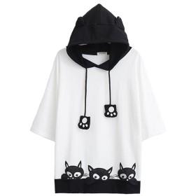 [モリマート]Morimart レディース 森ガール Tシャツ 半袖 夏 ネコ 刺繍 フード付き 猫耳 学生風 肉球 かわいい カジュアル ゆったり