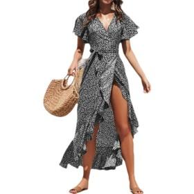 chenshiba-JP Women Chiffon Dress Boho Short Sleeve Ruffle Maxi Dresses Black L