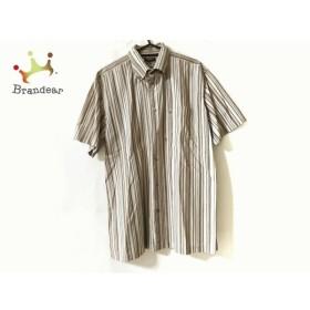 バーバリーロンドン 半袖シャツ サイズLL メンズ 美品 ベージュ×ブラウン×マルチ ストライプ   スペシャル特価 20191208