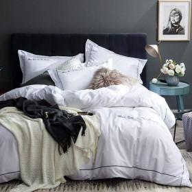 単色ダブル寝具コットン4セット、シンプルな刺繍1掛け布団カバー1シート2枕ホーム装飾用-white-Queen