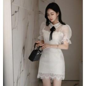 ホワイトドレスで大人清楚に ミニ ドレス 半袖 ワンピース シースルー 刺繍 レース シンプル パーティー 二次会