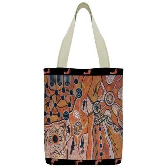 Desert Lands砂漠の土地キャンバストートキャリングバッグショルダーバッグユース文学トラベルバッグ用ジッパーポケットショッピングバッグ女性用再利用可能な食料品バッグ女の子