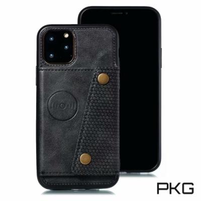 PKG Apple iPhone11 (6.1吋) 後側翻皮套-支援磁吸支架-高質黑