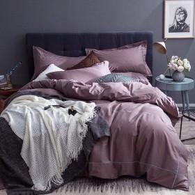 単色ダブル寝具コットン4セット、シンプルな刺繍1掛け布団カバー1シート2枕ホーム装飾用-Indianred-Queen