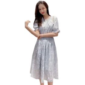 Leesin ワンピース プリントワンピース 花柄 切り替え レンチ 甘い 丸首 レース シフォンスカート