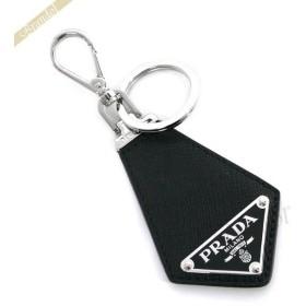 プラダ PRADA キーリング メンズ レザー 三角ロゴ キーホルダー ブラック×シルバー 2PP041 053 F0002