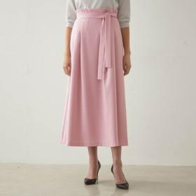 スカート レディース ロング ベルメゾン ハイウエストリボン付きスカート 「ピンク」