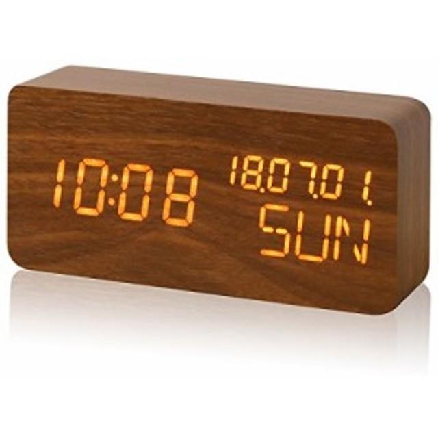 ウッド調 LEDデジタル置き時計 [Mezzo] 【ブラウン】 木目調 目覚まし時計