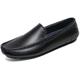 ドライビングシューズ メンズ ローファー スリップオン 本革 ビジネスシューズ 軽量 モカシン 靴 紳士靴 カジュアル 27.0cm デッキシューズ 大きなサイズ ブラック スリッポン カジュアル ドライビングシューズ ビジネス 防滑 スリッポン