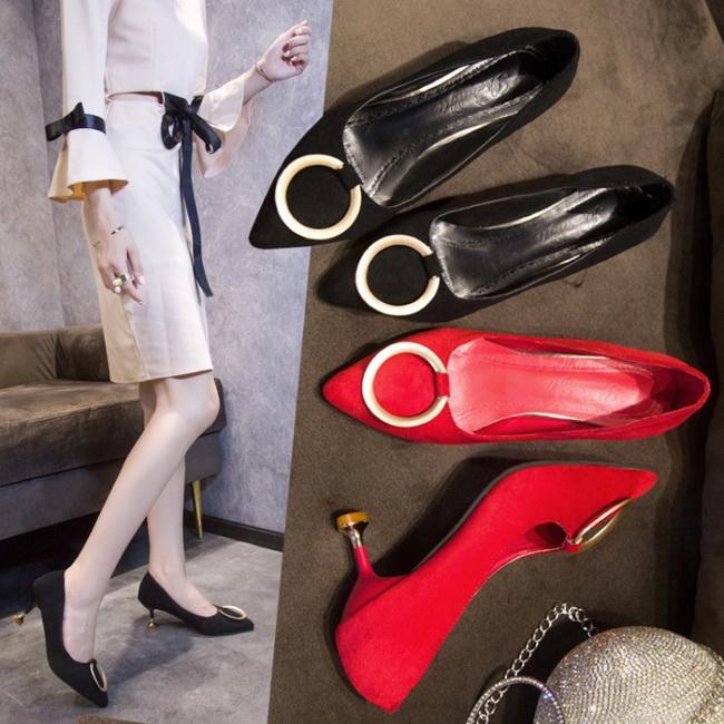 FOFU-高跟鞋熟女風圓環裝飾尖頭細高跟鞋【02S11554】