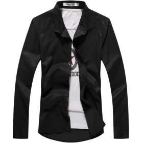 [eleitchtee] シャツ メンズ 白 長袖シャツ ワイシャツ カジュアル インナーシャツ 無地 大きいサイズ トップス 男性 006-zqnz-065(XL ブラック)