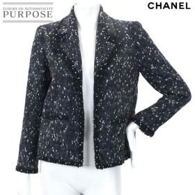シャネル CHANEL ツイード ジャケット アウター ドット柄 長袖 ボタン ココ CC グレー サイズ 38 01A レディース