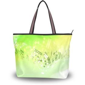 トートバッグ 手提げ ハンドバッグ レディース 緑 水彩 音符 音楽 線 肩掛けバッグ 大容量 a4 学生 おしゃれ 通勤 通学 かわいい