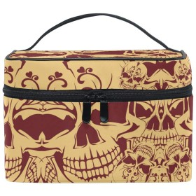 ヴィンテージグレースカル化粧品袋オーガナイザージッパー化粧バッグポーチトイレタリーケースガールレディース