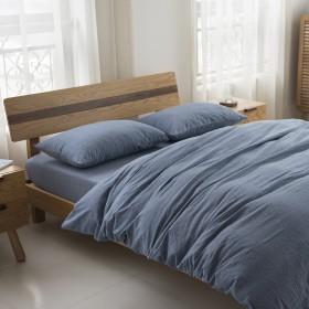 単色ダブル寝具4ピース、100%スーパーソフトコットン1掛け布団カバー1シート2枕-blue-Twin