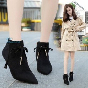 ショートブーツ 秋 冬 美脚 靴 着痩せ効果 ブーツ 大きいサイズ 人気 ローヒール レディース カジュアルシューズ 歩きやすい