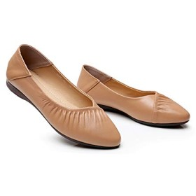 [AYBTO] ペタンコ バレエシューズ シンプル ポインテッドトゥ 柔らかい パンプス 痛くない 入園式 ローファー 25.0cm 走れる 歩きやすい フラットシューズ 通気性 ぺたんこ 軽い 杏色 春夏 妊婦 婦人靴 かわいい 大きいサイズ コーデ 安定感
