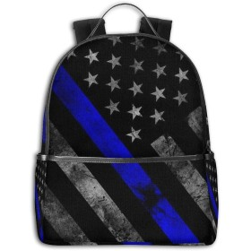 Blue Lives Matter Flag School Backpack Travel Back to School Men Women(Blue Musical Notes)