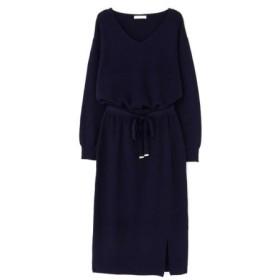 (PROPORTION BODY DRESSING/プロポーション ボディドレッシング)リボン付きタイトスカートニットアップ/レディース ネイビー