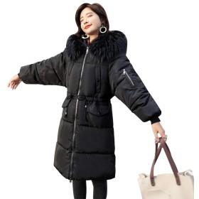 Jomiss コート レディース ロング ダウンコート ダウンジャケット 膝下 秋冬 ゆったり 防寒 防風 (XL, 【A0017】ブラック)