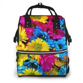 万洋 最新旅行 通勤 個性的 多機能レジャーバッグ リュック マザーズバッグ ベビー用品収納 出産準備 防水盗難防止ポケット シンプル大容量手提げ袋 かわいい -ヒナギクの虹
