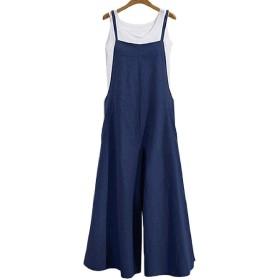 Qiangjinjiu レディースファッションサマールーズリネンオーバーオールジャンボスーツビブズボンワイド脚パンツ 1 XL
