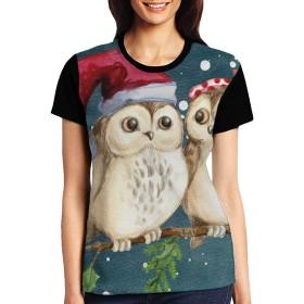 Tシャツ レディース メリークリスマスフクロウ 夏半袖 カジュアル ゆったり Tシャツ