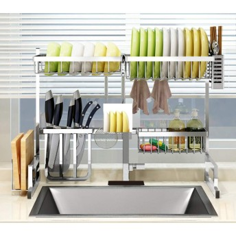 RAIN QUEEN 水切りラック シンク上 食器乾燥ラック 304ステンレス製 食器棚 キッチン用品 食器収納 組み立て簡単 水切り キッチンスペース有効活用 錆びにくい