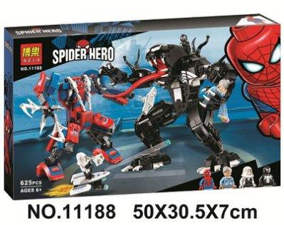 高積木 博樂11188 蜘蛛人機甲對戰猛毒機甲 毒液 蜘蛛俠 女蜘蛛人 超級英雄 復仇者聯盟 非樂高LEGO76115