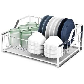 Dr. 304ステンレス鋼食器棚、排水ラック、食器箸置き、キッチンカトラリー収納ラック、漏れバスケット、排水バスケット、乾燥ラック、1層 水切りラック (Size : 44x33x18.5cm)