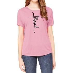 YCQ 女性の信仰の手紙プリントティーパーカープルオーバー長袖スウェットポケットTシャツ 人気 (Color : ピンク, Size : M)