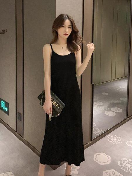 新款早中長款針織連衣裙女黑色復古長裙性感名媛吊帶裙