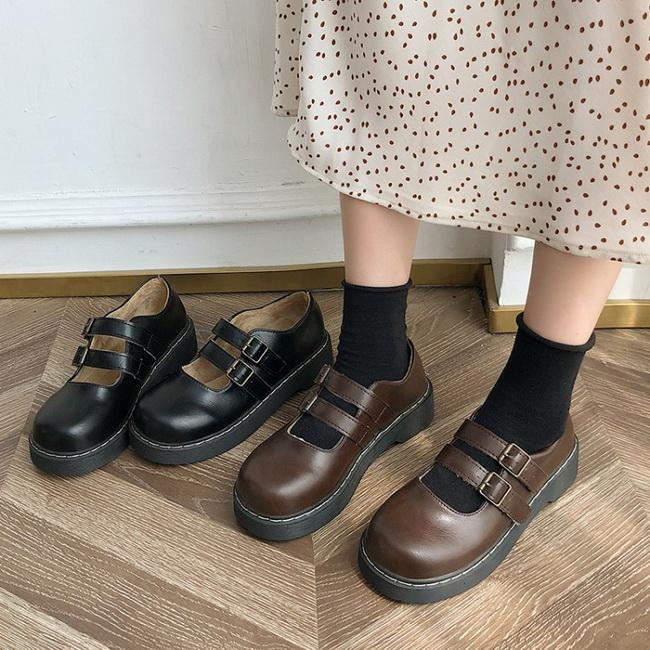 FOFU-皮鞋日系學院風可愛圓頭搭釦低跟皮鞋【02S11551】
