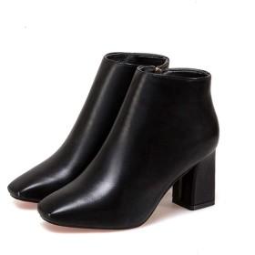 [AJGLJIYER LTD] ショートブーツ 25.5cm レディース ヒール ラウンドトゥ オールシーズン ブーツ レディース 疲れない ブラック ブーティ 歩きやすい 靴 ブーティー レディース 3E 軽量 OL 通勤 通学 黒 ウオーキングシューズ
