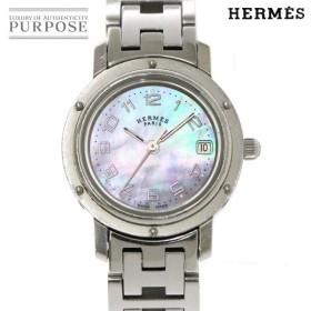 エルメス HERMES クリッパー ナクレ CL4 210 レディース 腕時計 デイト ホワイトシェル 文字盤 クォーツ ウォッチ