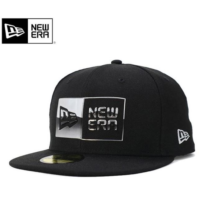 ニューエラ キャップ 帽子 59FIFTY METALLIC BOX LOGO ブラック NEW ERA メンズ
