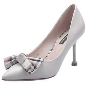 [VALER] 美脚パンプス ピンヒール ポインテッドトゥ ファッション パンプス 22.0cm ハイヒール ピンヒール 8.0CM リボン 可愛い 通勤 ベージュ パンプス パーティー 結婚式 エナメル靴 とんがり 走れるファッション ハイヒール パンプス
